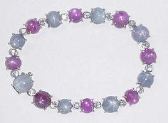 Star Ruby, Star Sapphire and Diamond Bracelet.