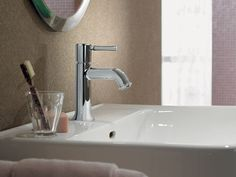 A Streamlined Faucet Is Fast To Clean. Mount Your Glass And Soap On The Wall