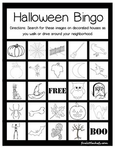 a fun halloween printable scavenger hunt or bingo played on a walk or in the car find these images on decorated houses or yards around your neighborhood - Preschool Halloween Bingo