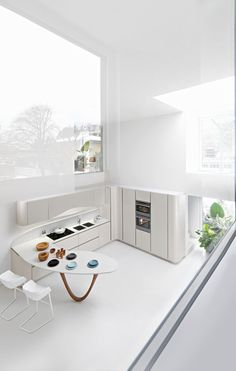 Massive windows for an all white kitchen