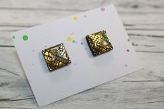 Black Stud Earrings, Gold Studs, Black Gold, Etsy Seller, Accessories, Jewelry, Design, Jewlery, Jewerly