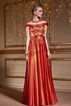 Orange Off Shoulder Glittering Sequins Formal Dress SO993