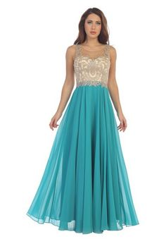 Style Number: LF 7065 Chiffon Skirt with Nude Bead Embellished High Neck Bodice Available in Black, Burgundy, Royal Blue, Blush, Champagne, Jade, Navy and Silver