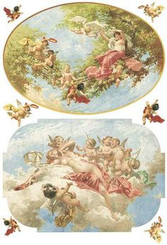Neo-classical painting with cherubs and little angels on this decoupage rice paper from Calambour Italy. Decoupage Vintage, Decoupage Paper, Vintage Diy, Vintage Labels, Vintage Cards, Vintage Paper, Vintage Postcards, Vintage Pictures, Vintage Images