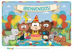 """Cartel """"Bienvenidos"""". Formato A3. Medidas: 2480 x 1754. #Toobys #Cumpleaños…"""