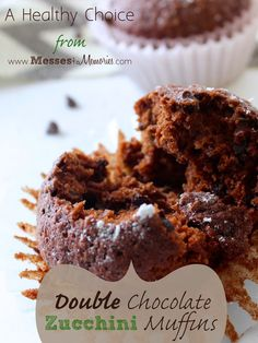 DOUBLE CHOCOLATE ZUCCHINI MUFFINS--A great way to sneak some veggies in for breakfast from Messes to Memories