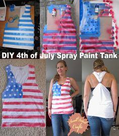 Posts about No Sew DIY Fourth of July Spray Paint Tank Top written by lainapickrel 4th Of July Party, Fourth Of July, Patriotic Shirts, 4th Of July Outfits, Holiday Outfits, July Crafts, Holiday Crafts, Kid Crafts, Holiday Fun