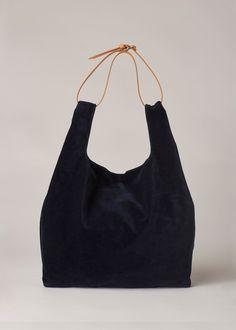 be46150bbf665 Maison Margiela Large Velvet Tote (Navy) Tote Backpack