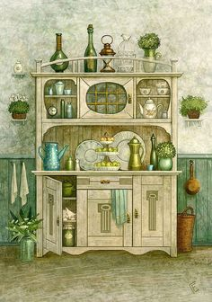 Green Buffet - Counted cross stitch pattern in PDF format by Maxispatterns on Etsy Illustrations Vintage, Illustration Art, Counted Cross Stitch Patterns, Cross Stitch Designs, Intermediate Colors, Creation Photo, Kitchen Art, Mail Art, Embroidery Patterns