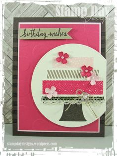 [By]: Jessica Kerr, Stamp Day Designs [Stamp Sets]: Build a Birthday, Pictogram Punches, Brushstrokes [Ink]: Soft Suede, Crumb Cake, Melon Mambo, Pink Pirouette, Very Vanilla [Paper]: Soft Suede, Melon Mambo, Pink Pirouette, Very Vanilla, Crumb Cake[Accessories]: Itty Bitty Accents Punch, Polka Dot Embossing Folder, Pearl Basic Jewels, Venetian Crochet Trim, Linen Thread, Circles Collection Framelits, Vintage Faceted Designer Button