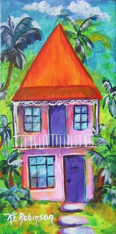 Key West Conch House $125. I Love to create a whole row of these across my wall and then switch them around for different looks :)  http://KeROBinsonArt.com