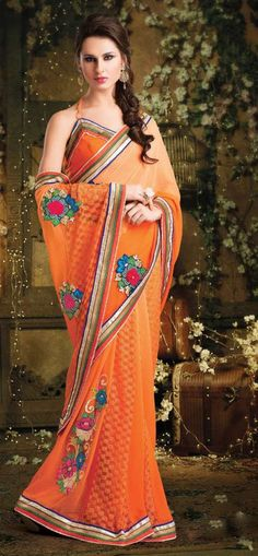 Orange party wear sari