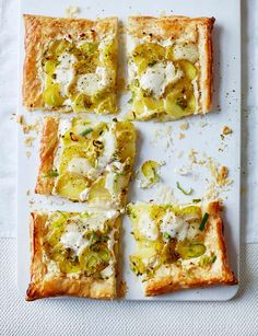Potato, mozzarella and spring onion tart