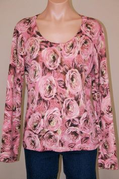 Mainbocher 100% Cashmere Pink Roses Floral Scoop Neck Pullover Sweater size L #Mainbocher #ScoopNeck