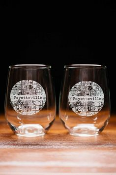 Fayetteville College Town Engraved Stemless Wine Glass Set $44