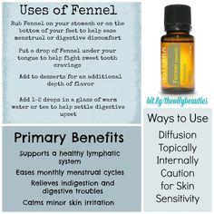 Used for centuries for its many health benefits, Fennel essential oil has pronounced antioxidant properties and is considered a tonic. It is often used to relieve indigestion (supporting the healthy functions of the stomach), to aid in any kind of digestive issue and to support improvements to the lymphatic system. Fennel's sweet yet spicy aroma is balancing and has familiar licorice notes. Get started with essential oils here: http://glutenfreekidx.blogspot.com/p/how-to-order-doterra.html