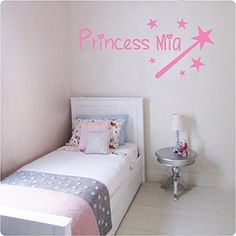 Wall Decals Name Personalized Custom Decal Princess Star Magic Wand Vinyl Sticker Art Home Decor Mural Baby Decor Nursery OP15 -- To view further for this item, visit the image link.