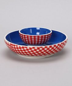 photos of red chip and dip sets | Blue Ceramic Chip & Dip Bowl Set