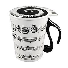 SDBING Musician Coffee MUG with Lid Staves Music Notes ** Startling review available here