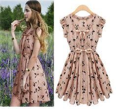 Free shipping!2013 New fashon womens O neck casual ruffles dress Elk pattern chiffon sheer dresses women,QN468 $19.99