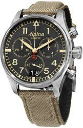 Alpina Startimer Pilot Chronograph Grey Dial Fabric Mens Watch AL-372BGR4S6