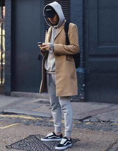 mens street style camel overcoat grey hoodie grey tracksuit bottoms black vans