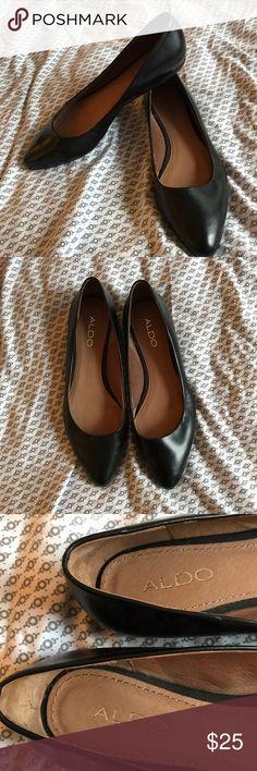 ALDO Black Leather Ballerina Flats Black leather flats. Never worn! Aldo Shoes Flats & Loafers