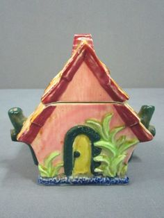 Vintage Japan Small Ceramic House Shaped by DiverseCollectibles #trinketbox #house #vintage