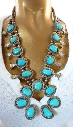 Striking Vintage Navajo Sterling Silver Squash Blossom Necklace w Large Intensely BLUE Blue Gem Turquoise Stones. Fabulous Classic.