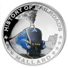 """History of Railroad """"Mallard"""" Silver Coin Liberia, Coins For Sale, Mallard, Coin Collecting, Silver Coins, Locomotive, Old Things, Warriors, Diamond Rings"""