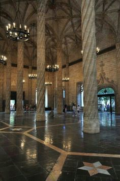 Valencia, Spain. La Lonja de la Seda. A Romanesque building with Gothic ceiling. It was an old silk trading market back in the day. All About Spain, Spanish Holidays, Top Destinations, Romanesque, Moorish, Malaga, Travel Photos, Places Ive Been, Madrid