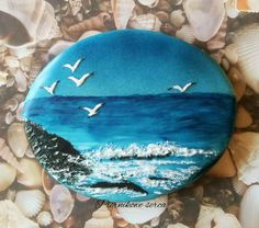 Sea at dusk by Piernikowe Serca Summer Cookies, Fancy Cookies, Iced Cookies, Cut Out Cookies, Cute Cookies, Royal Icing Cookies, Basic Cookies, Cookie Decorating Icing, Paint Cookies