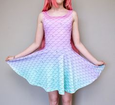 Pastel Sparkle Mermaid Scale Skater Dress…