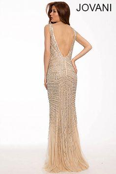 Nude/Silver Beaded Sleeveless Dress w/Low Back-V-Neck.20736