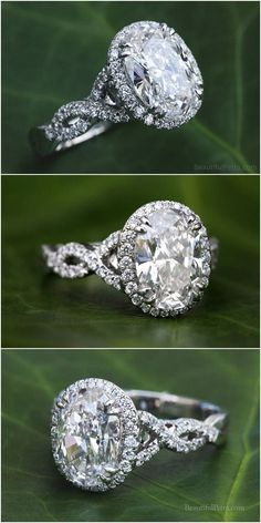 Oval Halo Diamond Engagement Ring - Platinum - Luxury - Bp0h34 #weddings #rings #engagementrings