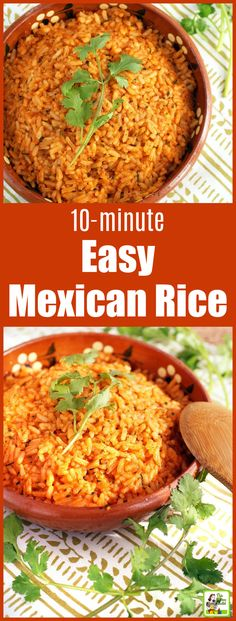 This Easy Mexican Rice recipe takes only 10 minutes to make! Easy restaurant-style Mexican rice takes only 10 minutes. Perfect for Taco Tuesday or to serve with your favorite burritos or carne asada. Can be made vegan or vegetarian. Mexican Rice Recipes, Rice Recipes For Dinner, Mexican Dishes, Mexican Desserts, Mexican Rice Recipe With Cooked Rice, Easy Taco Rice Recipe, Mexican Rice Recipe Restaurant Style, Vegetarian Mexican Rice, Mexican Snacks