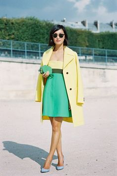 Bright yellow and green color combination | dress and jacket lengths are intentionally different | summer style