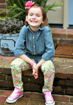 Lands' End Kids Chambray Shirt + Patterned Pants | via Our Fifth House