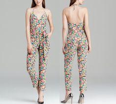 NEW  YUMI KIM  XS Silk Maxi Romper Yellow Floral Printed Wrap Jumpsuit Blue  0 2