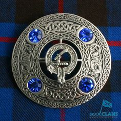 Elliot Clan Crest Plaid Brooch