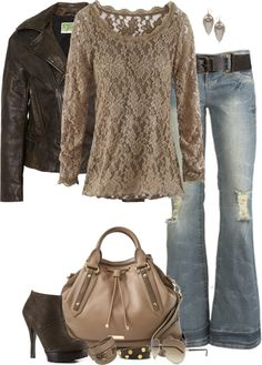 Casual Outfit - love the leather and lace Looks Street Style, Looks Style, Looks Cool, Style Me, Hippy Style, Hippie Chic, Komplette Outfits, Casual Outfits, Fashion Outfits