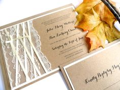 Wedding Invitations  RUSTIC BURLAP and LACE  by ChampagnePress, $6.00