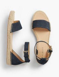 Talbots: Ivy Ankle Strap Espadrille Flats : Silk Suede