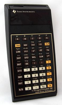 Vintage Texas Instruments TI Programmable 58 Electronic Handheld Calculator, Model Made In USA, Introduced In 1977 Micro Computer, Der Computer, Hp 12c, Digital History, New Electronic Gadgets, 8 Bits, Slide Rule, Texas, Retro Advertising