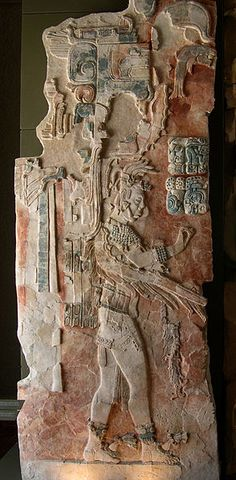 A painted stucco relief in the museum at Palenque, a Maya ruin in Chiapas, Mexico, from one of the recently excavated buildings. It shows U Pakal K´inich, who ascended to the throne of Palenque between 736 and 742 A.C.