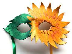 Sunflower Mask  Handmade Leather Mask by OakMyth on Etsy