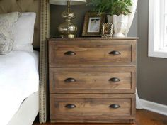 Turn a $35 Ikea dresser to a nice vintage nightstand. - #decoracion #homedecor #muebles