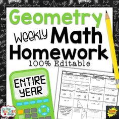 Need Spiral GEOMETRY HOMEWORK, DAILY MATH REVIEWS, or BELL RINGERS that will keep math concepts fresh all year?  This 100% editable, TOP-SELLING daily math review resource will do just that and more!SAVE over 20% with this BUNDLE!!!This Math Homework Includes34 weeks of Common Core aligned geometry math homework sheets (102 pages) Covers the ENTIRE YEAR of Geometry!
