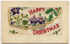 "WW1 Era Embroidered Silk Novelty Postcard ""Happy Christmas"""