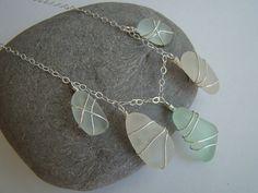 Soft Pastels Sea Glass Necklace - Aqua, Seafoam, White - Sterling Silver Wire Wrapped - Sea Glass Jewelry